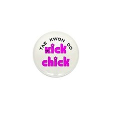 Tae Kwon Do Kick Chick Mini Button (10 pack)