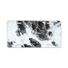 Black and White Marble 01 Aluminum License Plate