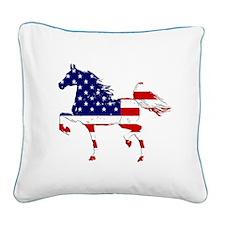 Patriotic American Gaited Horse Square Canvas Pill