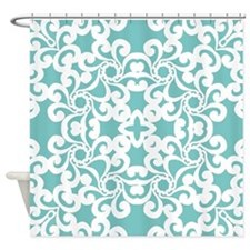 Aqua Sky & White Lace Tile Shower Curtain