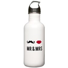 mr and mrs with mustache and red lips Water Bottle