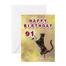 91st birthday with a cat Greeting Card
