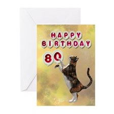 80th birthday with a cat Greeting Cards (Pk of 20)