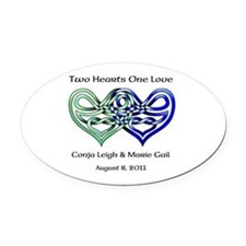 Two Hearts Oval Car Magnet
