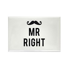 Mr. right text design with mustache Rectangle Magn