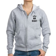 Mr. right text design with mustache Zip Hoodie
