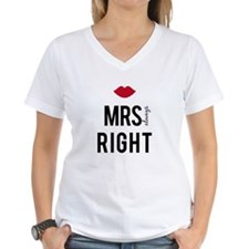 Mrs. always right text design with red lips T-Shir