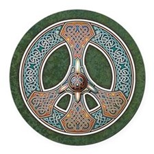 Celtic Peace Symbol Round Car Magnet