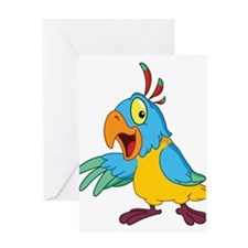 Funny Cartoon Parrot Greeting Card