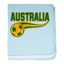 Soccer ball with the word Australia baby blanket