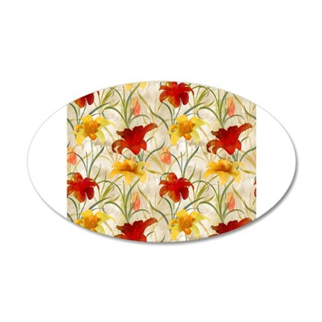 Painted Lilies 20x12 Oval Wall Decal