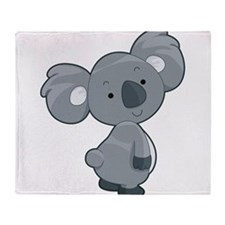 Cute Gray Koala Throw Blanket