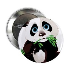 "Panda Eating Bamboo 2.25"" Button"