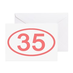 Number 35 Oval Greeting Cards (Pk of 10)