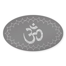 om silver Oval Decal