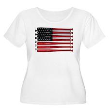 retro baseball bat American flag Plus Size T-Shirt