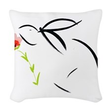 Bunny and flower Woven Throw Pillow