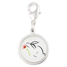 Bunny and flower Silver Round Charm