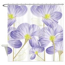 Lavender Sweet Peas Floral Shower Curtain