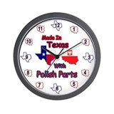 Made In Texas With Polish Parts Wall Clock