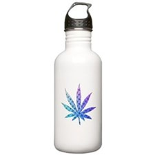 Blue To Violet Marijuana Leaf Art Sports Water Bottle