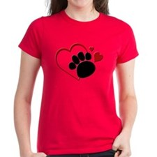 Dog Paw Print with Love Hear T-Shirt