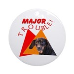 Dachshund Trouble Ornament (Round)