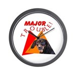 Dachshund Trouble Wall Clock