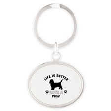 Life is better with PBGV Oval Keychain