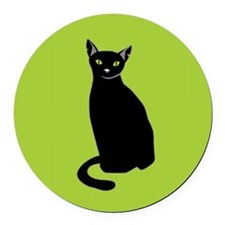 Black Cat Round Car Magnet