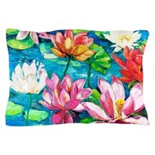 Water Lily Oil Painting Pillow Case