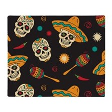 Mexican Skulls Throw Blanket