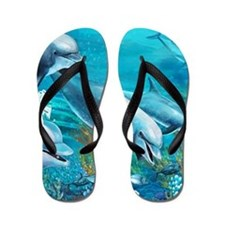 Beautiful Dolphin Painting Flip Flops