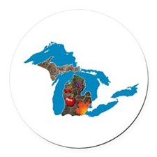 Great Lakes Michigan Harvest Round Car Magnet