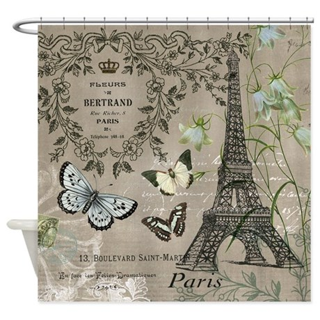 Vintage French Eiffel Tower Shower Curtain By