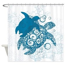 Aqua Turtle Love Shower Curtain