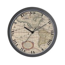 Ancient World Map 1630 Wall Clock