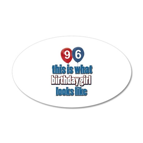 96 year old birthday girl 20x12 Oval Wall Decal