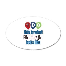 100 year old birthday girl 35x21 Oval Wall Decal