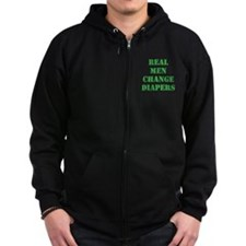 Real Men Change Diapers Zip Hoodie