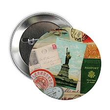 """Vintage Passport travel collage 2.25"""" Button (100"""