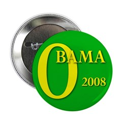 Green Obama for President 2.25&quot; Button (10 pack)