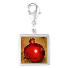 Botanical Pomegranate Silver Square Charm