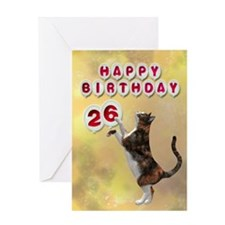26th birthday with a cat Greeting Card