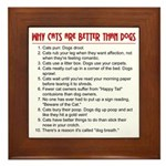 Cats Are Better Than Dogs Framed Tile