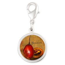 Botanical Tamarillo Silver Round Charm