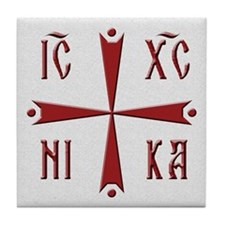 ICXC NIKA Red Cross Tile Coaster