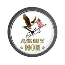 Proud Army Mom - Eagle Flag Wall Clock