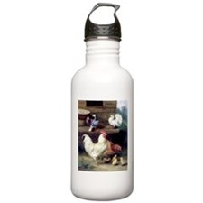 Rooster chicks and pigeons Water Bottle