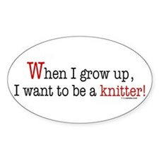 ... a knitter Oval Decal